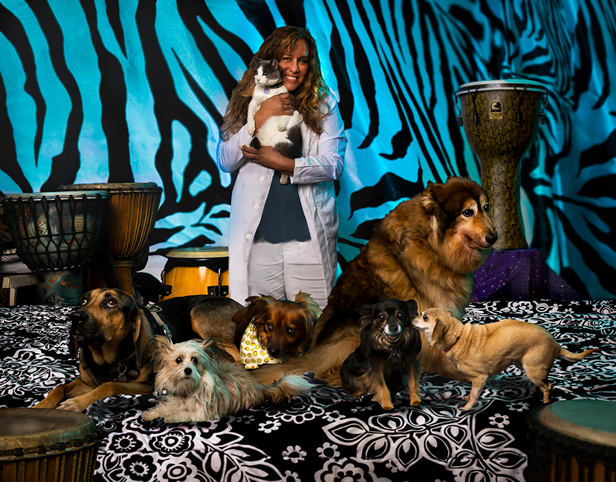 Stacy Robin with her pets